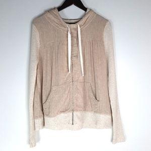 Anthro Saturday Sunday Linen Zip Hooded Jacket